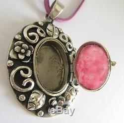 0.925 Sterling Silver Photo Pendant Necklace Rose Quartz-Los Ballesteros-Mexico