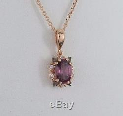 $1,200 Levian 14K Rose Gold Chocolate Quartz Sapphire Rhodolite Pendant Necklace
