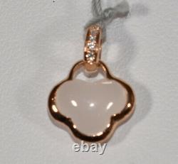 1.52ct White Quartz and Diamond Pendant in 18K Rose Gold