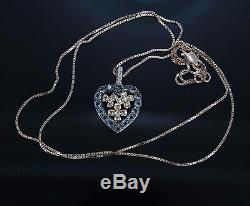 $1,600 LeVian 14K Rose Gold Smoky Quartz Diamond Heart Flower Pendant Necklace