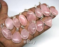 100 PCs Lot Natural Pink Rose Quartz Gemstone. 925 Silver Plated Bezel Pendants