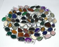 100 PCs Lot Natural Rose Quartz, Tigers Eye Mix Gemstone Silver Plated Pendants