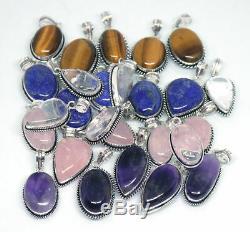 100 PCs Natural Rose Quartz, Lapis & Mix Gemstone. 925 Silver Plated Pendants