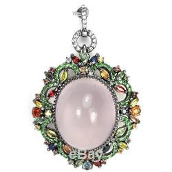100ct Real Rose Quartz Sapphire Tsavorite Sterling 925 Silver Pendant & Brooch