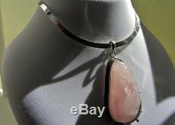 102g sterling silver 925 Art Nouveau style rose quartz pendant choker necklace