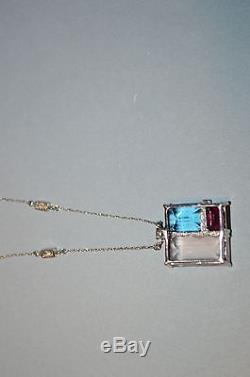 10KW gold diamond, topaz, garnet, rose quartz pendant