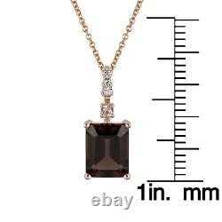 10k Rose Gold Genuine Emerald-Cut Smoky Quartz Pendant Necklace