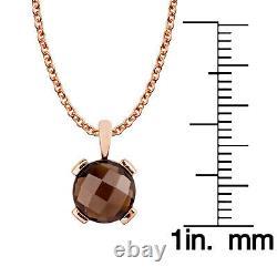 10k Rose Gold Genuine Round Smoky Quartz Pendant Necklace
