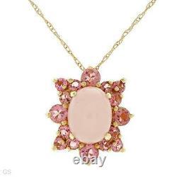 10k Solid Yellow Gold 2.48 Ctw Pink Quartz & Tourmaline Necklace