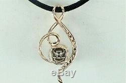 $1199 Levian 14K Rose Gold Smoky Quartz Chocolate White Diamond Necklace Pendant