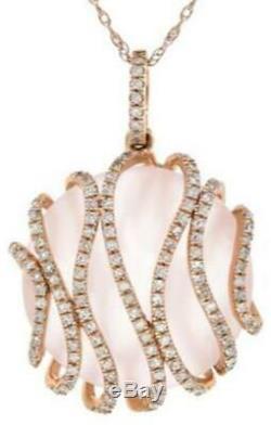 12.23ct Diamond & Aaa Rose Quartz 14kt Rose Gold Multi Wave Fun Floating Pendant