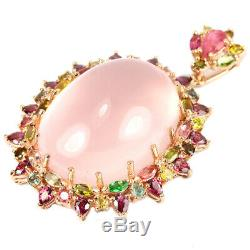 121.70ct. Real 34x25 Mm. Rose Quartz & Tourmaline Sterling 925 Silver Pendant