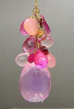 14K Gold Pink Gemstone Briolette Pendant