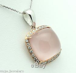 14K PINK GOLD Liquid Rose Quartz & Diamond Pendant on White Gold Chain Necklace