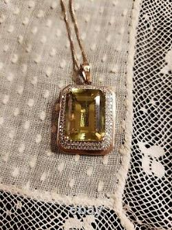 14K ROSE GOLD Emerald-Cut LEMON QUARTZ & DIAMOND Double Halo 18 Necklace