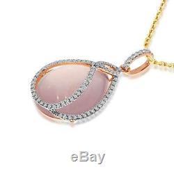 14K Rose Gold Large Pear shape Rose Quartz &Diamond Pendant (Chain NOT included)