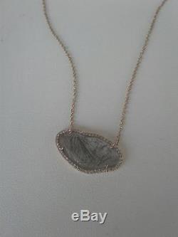 14K Rose Gold Rutilated Quartz Diamond Pendant $975.00