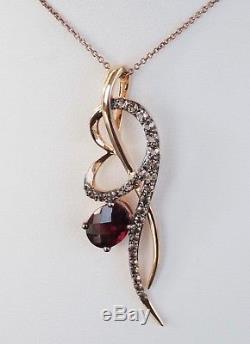 14K Rose Strawberry Gold LeVian Garnet Chocolate Quartz Necklace