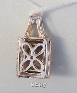 14K Rose Strawberry Gold LeVian Smokey Quartz Chocolate Diamond Necklace Pendant