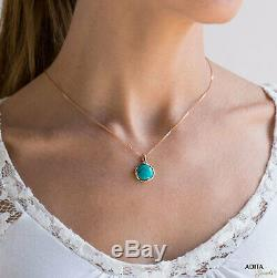 14K Solid ROSE GOLD Round 12 mm TURQUOISE TURQUOISE Pendant HANDMADE JEWELRY