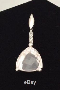 14K White Gold 29CT Checkerboard Trillion Cut Rose Quartz & Diamond Pendant
