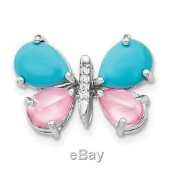 14K White Gold Diamond and Cabochon Turquoise and Rose Quartz Butterfly Pendant