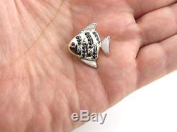 14K Yellow Gold Sapphire Ruby Rose Quartz Fish Pin Charm And Pendant