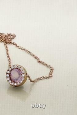 14K round 6mm rose quartz gemstone halo rose hammered gold diamond necklace
