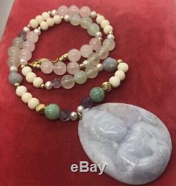 14k Gold Estate Vintage Necklace Carved Agate Pendant Rose Quartz Signed 19