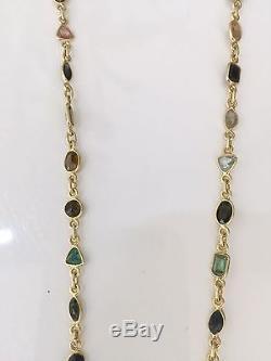 14k Gold Gemstone Filled Mixed Tourmaline Necklace & Rose Quartz pendant