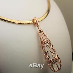 14k Quartz 40 Carat Italian Rose Gold Pendant