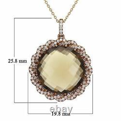 14k Rose Gold 0.40ctw Smoky Quartz & Diamond Wreath Pendant Necklace 18