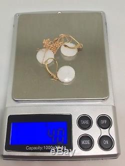 14k Rose Gold Checkerboard White Quartz Pendant Earrings Set