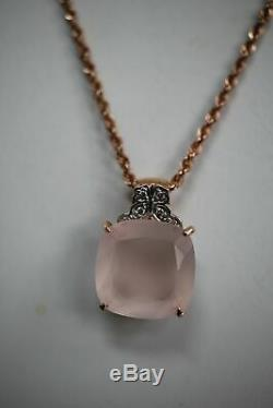 14k Rose Gold Rope Chain Necklace with Rose Quartz Pendant 18 inch