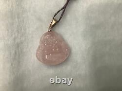 14k Rose Gold With Diamond Rose Quartz Buddha Pendant