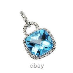 14k White Yellow Rose Gold Pave Diamond Cushion Cut Blue Topaz Pendant Necklace