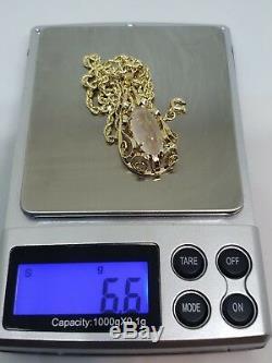 14k Yellow Gold Rose Quartz Cabochon Pendant 18 Gold Rope 6.6 Grams