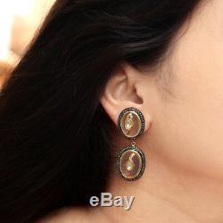 14k or Rose Quartz Gemme Boucles D'Oreilles Pendantes Diamant 925 Argent
