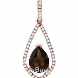 14kt Rose Gold Womens Pear Smoky Quartz Teardrop Diamond Accent Pendant