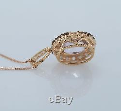 $1676 LeVian 14K Rose Gold Amethyst Smoky Quartz White Sapphire Necklace Pendant
