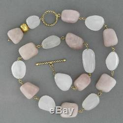 18 k ct Yellow GOLD 750 ROSE QUARTZ and ROCK CRYSTAL Bead Pendant Necklace Stone