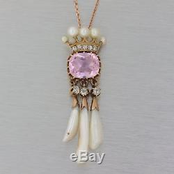 1880s Antique Victorian 14k Gold Rose Quartz Pearl Diamond Pendant Necklace Y8