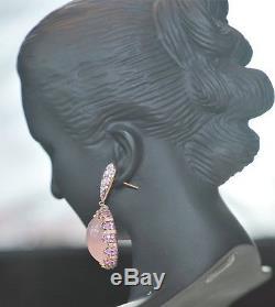 18K Rose & Blackened Gold, Diamond, Pink Sapphire & Rose Quartz Pendant Earrings