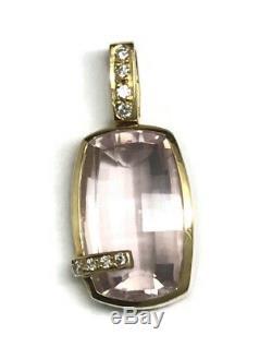 18ct gold rose quartz and diamond pendant, oblong, beautiful quality, Birmingham