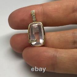 18ct gold rose quartz and diamond pendant, oblong, beautiful quality, Hallmarked