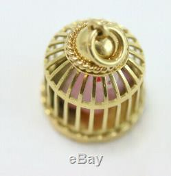 18k Gold Charm Pendant, Birdcage withRose Quartz Canary Bird. Mid-Century