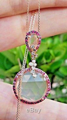 18k Rose Gold Natural Rose Quartz Diamond Multi Color Sapphire Necklace