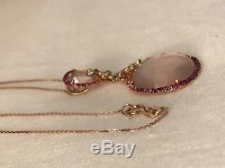 18k Rose Gold, Natural Rose Quartz, Diamond, Ruby & Pink Sapphire Necklace, 18