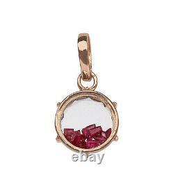 18k Solid Rose Gold Round Shaker Pendant Crystal Quartz Ruby Gemstone Jewelry