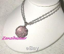 18k White Gold Rose Quartz & Pink Tourmaline Pendant
